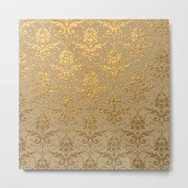 Gold Metallic Damask Beige Metal Print