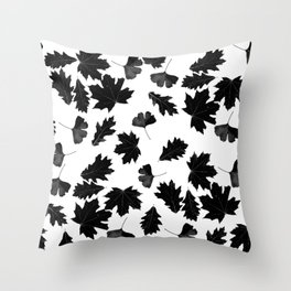 Falling Autumn Leaves in Black and White Throw Pillow