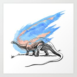 Brontosaurus Dinosaur on Blue Watercolor Asteroid Art Print