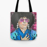 snl Tote Bags featuring SNL Mike Meyers as Linda Richman by Portraits on the Periphery