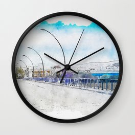 Aquarelle sketch art. The road and lights in Spain, Andalusia Wall Clock