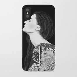 Forest and night in black & white iPhone Case