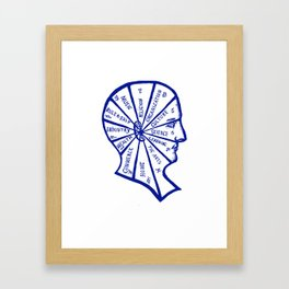 Vintage Phrenology Illustration in Blue Framed Art Print