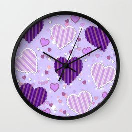 Purple Patchwork Hearts Wall Clock
