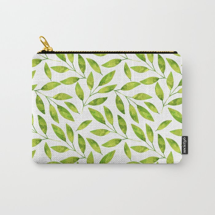 Greenery fresh green watercolor leaf pattern Carry-All Pouch