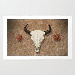 Bison Skull with Rose Rocks Art Print