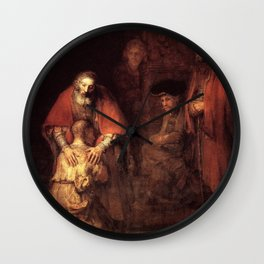The Return of the Prodigal Son Painting By Rembrandt Wall Clock