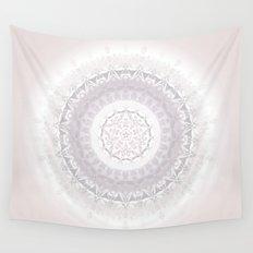 Floral Damask Mandala Blush White Wall Tapestry