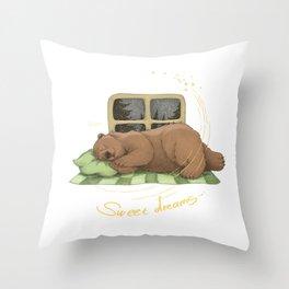 bear is sleeping (sweet dreams) Throw Pillow