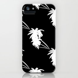 Palm Tree Pattern Black and White iPhone Case