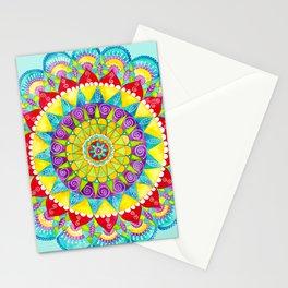 Mandala of Many Colors on Turquoise Stationery Cards