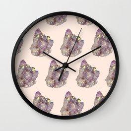 iridescent rainbow quartz crystal on blush Wall Clock