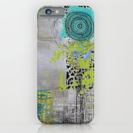 Teal & Lime Round Abstract Art Collage iPhone Case
