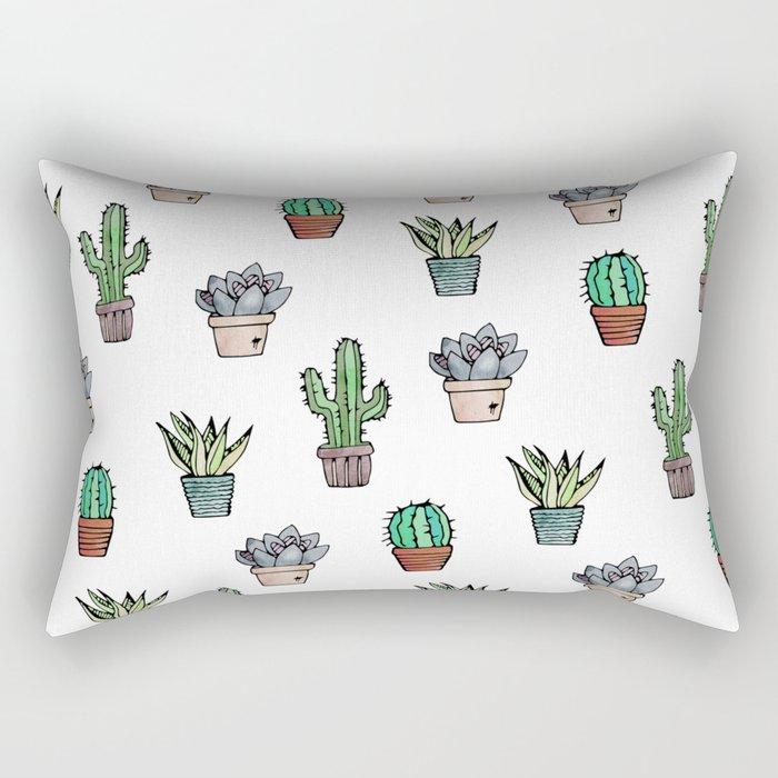 Watercolour Cacti & Succulents Rectangular Pillow