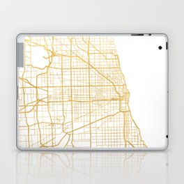 CHICAGO ILLINOIS CITY STREET MAP ART Laptop & iPad Skin