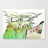 newspaper Canvas Prints featuring newspaper by La Ele