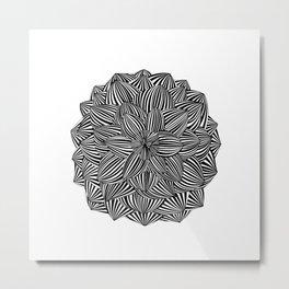 Black Stripes Flower Metal Print