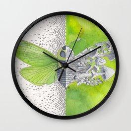 Green Cicada / Mushroom Watercolor Painting Wall Clock