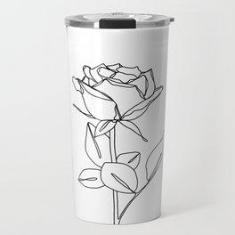 Botanical floral illustration line drawing - Rose Bud Travel Mug