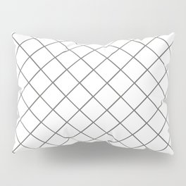 Pantone Pewter Gray Thin Line Stripe Grid (Pinstripe Pattern) on White Pillow Sham