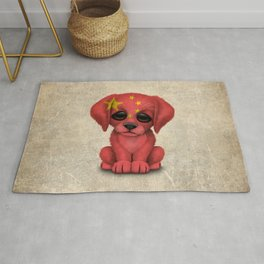 Cute Puppy Dog with flag of China Rug