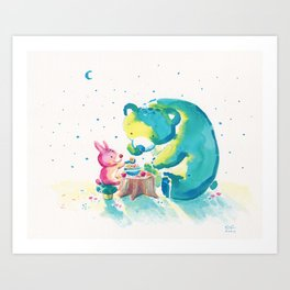 Bear with Rabbit - My Beary Berries Friend Art Print