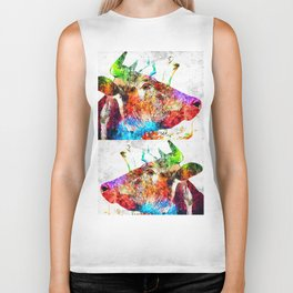 Cow Profile Watercolor Grunge Biker Tank
