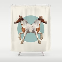 Double Animals: Horses Shower Curtain
