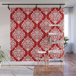 Red Damask Wall Mural