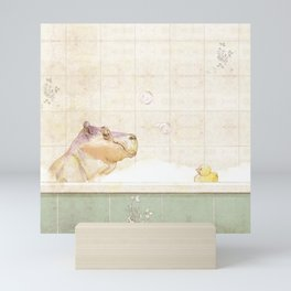 Hippo in the bath Mini Art Print