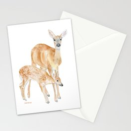 Mother and Baby Deer Watercolor Stationery Cards
