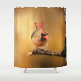 Female Cardinal Excited for Spring Shower Curtain