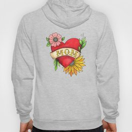 Mom Heart Tattoo Watecolor with Flowers Hoody