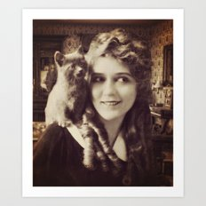 Mary Pickford - Vintage Lady with kitten Art Print