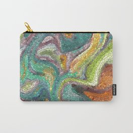 Turquoise, Copper, Gold, Green, Mosaic Design Carry-All Pouch