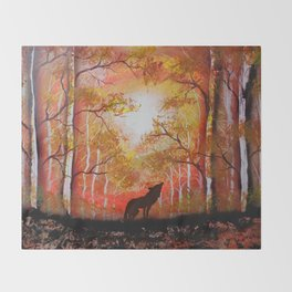 Howling Into The Woods Throw Blanket