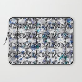 Snowflakes on abstract background Laptop Sleeve