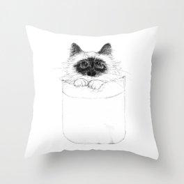 Puss in Pocket (B&W) Throw Pillow