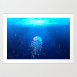 Glowing and sparkling blue jellyfish swimming in mystical deep blue ocean Art Print