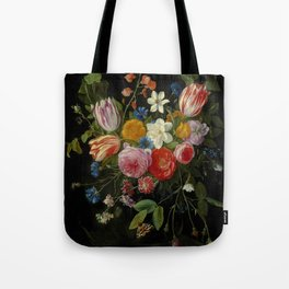 """Jan van Kessel de Oude """"Tulips, peonies, chicory, carnations, cherry blossom and other flowers"""" Tote Bag"""