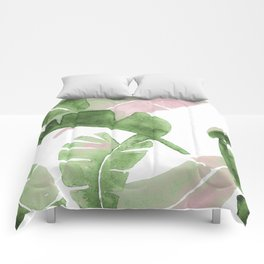 Tropical Leaves Green And Pink Comforters