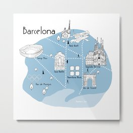 Mapping Barcelona - Blue Metal Print
