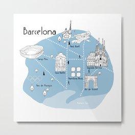 Mapping Barcelona - Blue Metal Print