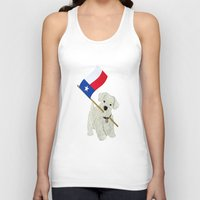 westie Tank Tops featuring Original Paper Cutting of Westie With Texas Flag by Carrie McFerron