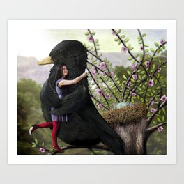 Girl embraces Blackbird Art Print