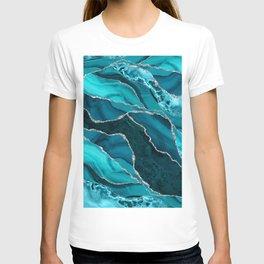 Ocean Waves Marble Teal T-shirt