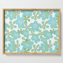Maya Turquoise Flowers Serving Tray
