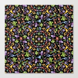 Terrific monsters posing for a colorful pattern design Canvas Print
