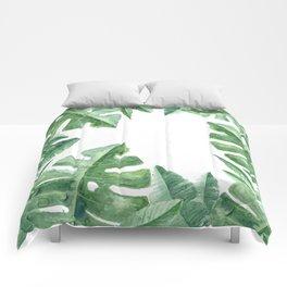 Tropical Green Monstera Watercolor Comforters