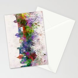 Palermo skyline in watercolor background Stationery Cards